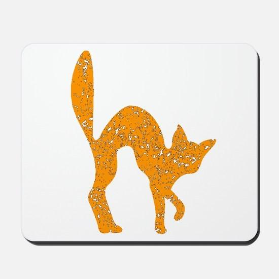 Distressed Orange Halloween Cat Mousepad