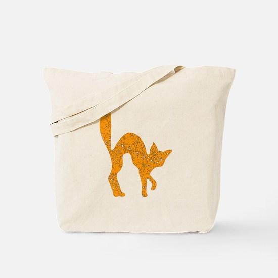 Distressed Orange Halloween Cat Tote Bag