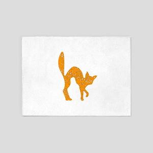 Distressed Orange Halloween Cat 5'x7'Area Rug