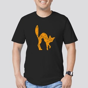 Distressed Orange Halloween Cat T-Shirt