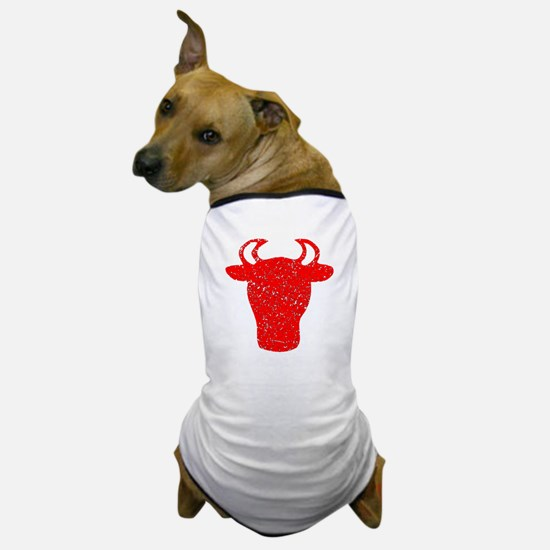 Distressed Red Bull Head Dog T-Shirt