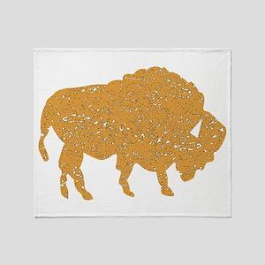 Distressed Brown Bison Throw Blanket