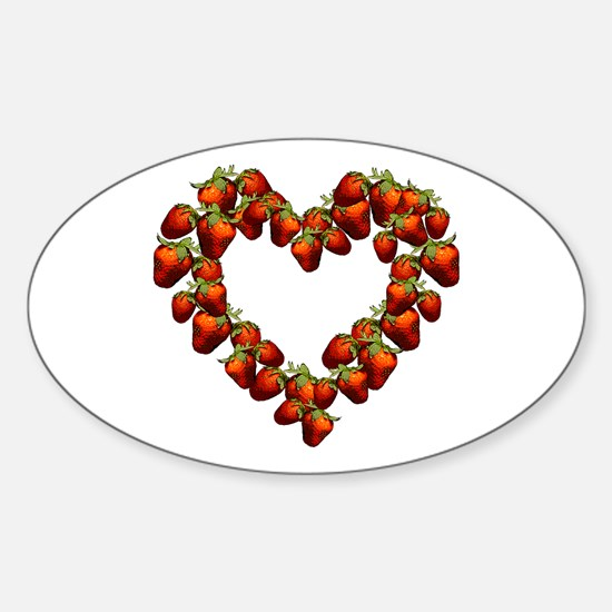 Strawberry Heart Oval Decal