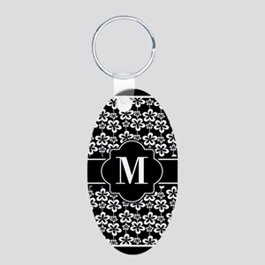 Black and White Floral Patt Aluminum Oval Keychain