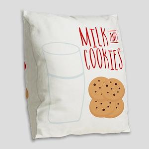 Milk And Cookies Burlap Throw Pillow