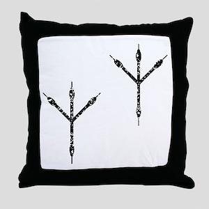 Distressed Bird Footprints Silhouette Throw Pillow