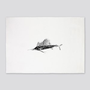 Distressed Sail Fish Silhouette 5'x7'Area Rug