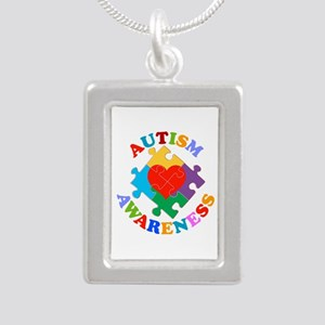 Autism Awareness Heart Silver Portrait Necklace