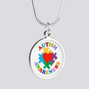 Autism Awareness Heart Silver Round Necklace