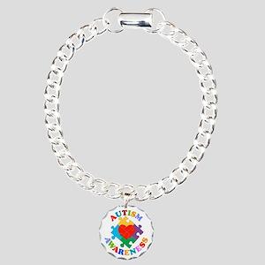 Autism Awareness Heart Charm Bracelet, One Charm