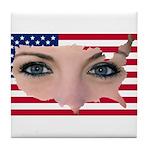 Us Woman U.s. Girl American Beauty Tile Coaster