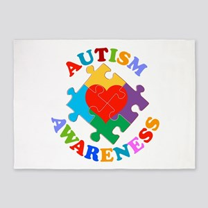 Autism Awareness Heart 5'x7'Area Rug