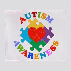 Autism Awareness Heart Throw Blanket