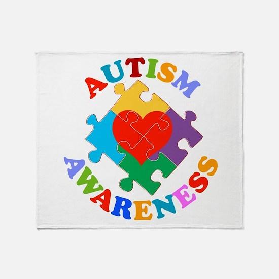 Autism Awareness Heart Throw Blanket