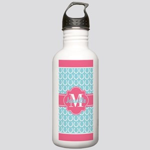 Aqua Pink Trim Horsesh Stainless Water Bottle 1.0L