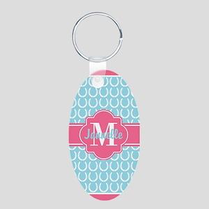 Aqua Pink Trim Horseshoe Pa Aluminum Oval Keychain