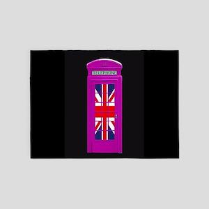 Pink! London phone box 5'x7'Area Rug