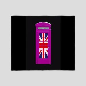 Pink! London phone box Throw Blanket