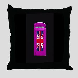Pink! London phone box Throw Pillow