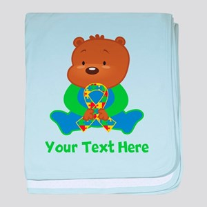 Autism Puzzle Ribbon Bear baby blanket