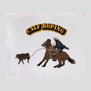 Calf Roping with Text Throw Blanket