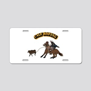 Calf Roping with Text Aluminum License Plate