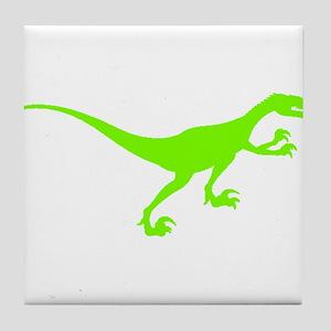 Velociraptor Silhouette (Green) Tile Coaster