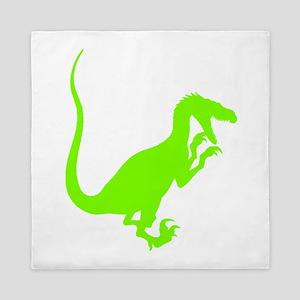 Velociraptor Silhouette (Green) Queen Duvet