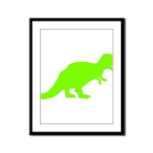 Tyrannosaurus Rex Silhouette (Green) Framed Panel
