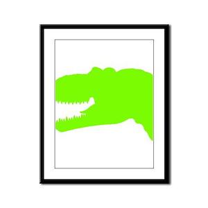 T-Rex Head Silhouette (Green) Framed Panel Print