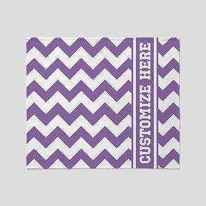 Customized Purple Chevron Pattern Throw Blanket