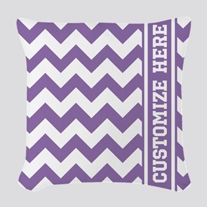 Customized Purple Chevron Patt Woven Throw Pillow