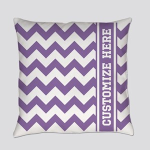 Customized Purple Chevron Pattern Everyday Pillow