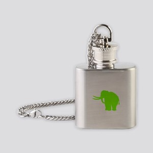 Woolly Mammoth Silhouette (Green) Flask Necklace