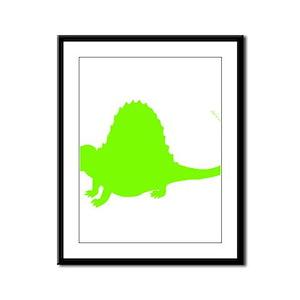 Spinosaurus Silhouette (Green) Framed Panel Print