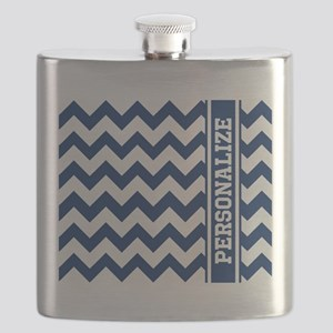 Personalized Blue Chevron Pattern Flask