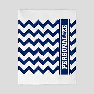 Personalized Blue Chevron Pattern Twin Duvet