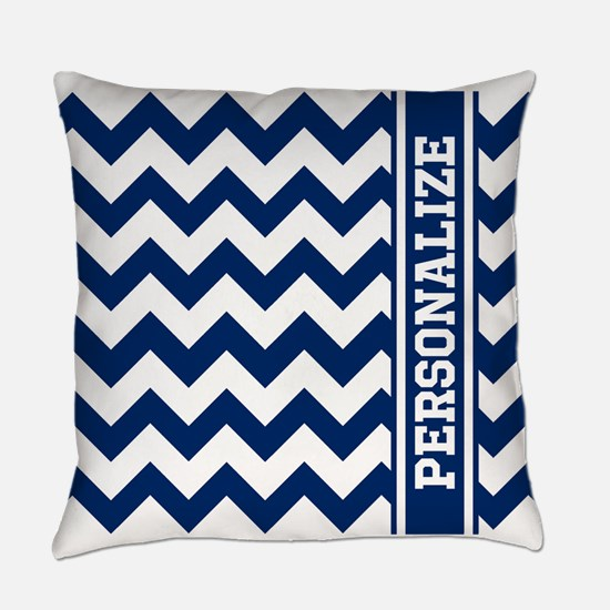 Personalized Blue Chevron Pattern Everyday Pillow