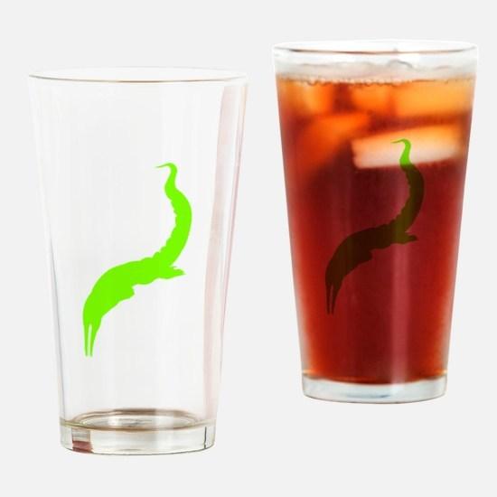 Mesosaurus Silhouette (Green) Drinking Glass