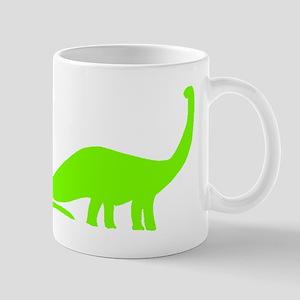 Brachiosaurus Silhouette (Green) Mugs
