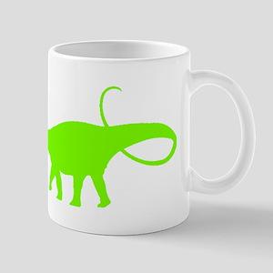 Apatosaurus Silhouette (Green) Mugs