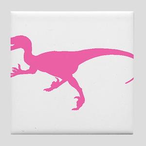 Velociraptor Silhouette (Pink) Tile Coaster