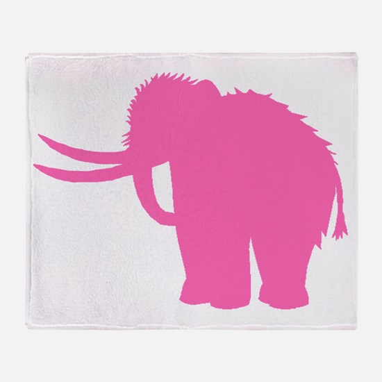 Woolly Mammoth Silhouette (Pink) Throw Blanket