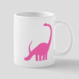 Brachiosaurus Silhouette (Pink) Mugs