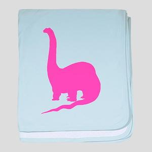 Brachiosaurus Silhouette (Pink) baby blanket