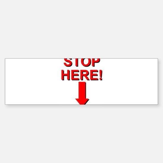 Stop HERE -> Bumper Bumper Bumper Sticker