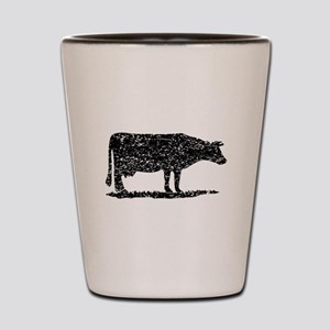 Distressed Cow Silhouette Shot Glass