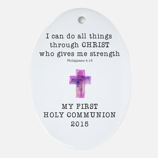First Communion Pink I Can Do All Ornament (Oval)