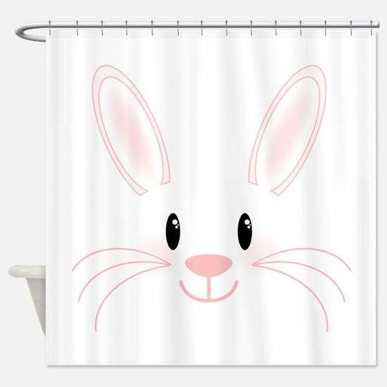 90+ Shower Curtains For Easter Decor - Bunny Face Shower Curtain ...