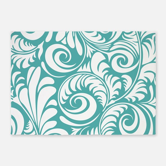 Blue Turquoise & White Swirls 5'x7'Area Rug
